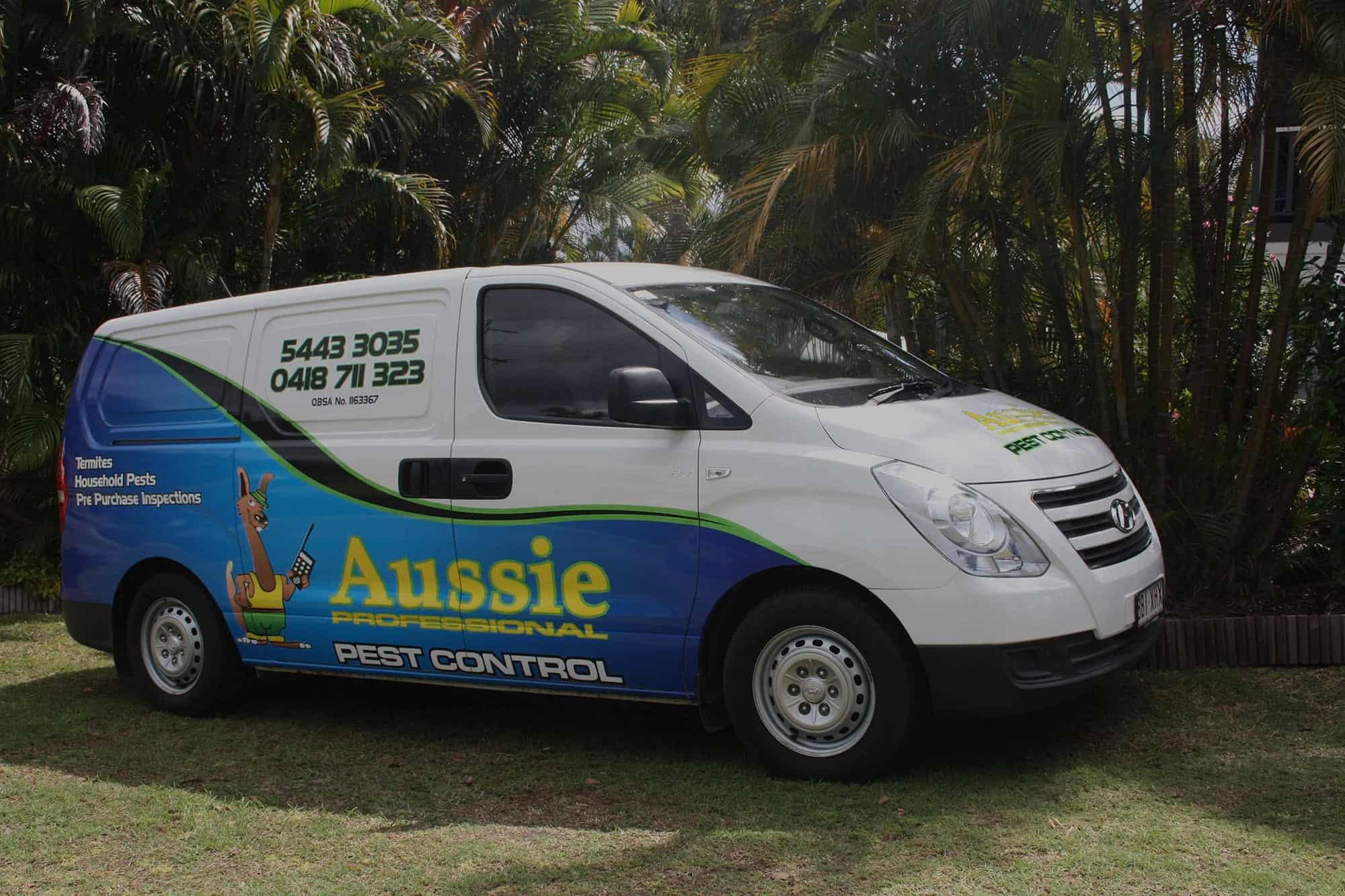 aussie pest control sunshine coast exterminator work van